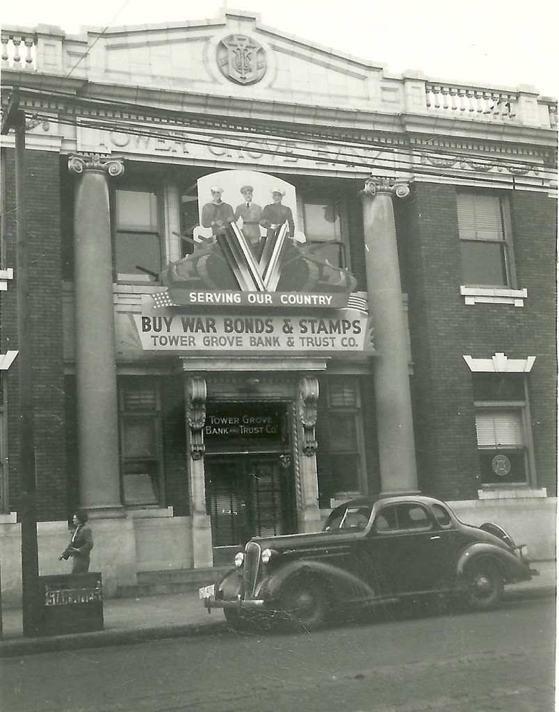 The Tower Grove Bank Building before its slip-cover was added. Built in 1912, the building stood where the Commerce Bank branch now stands adjacent to the new Rooster restaurant site.