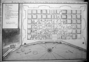 Military engineer Adrien Pauger's Plan for New Orleans, Map dd 1725.  National Library of France