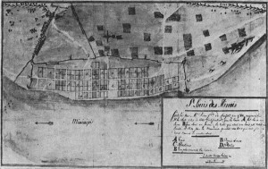 A 1780 map of Saint Louis, courtesy of the Missouri History Museum.  Photo by David Mount