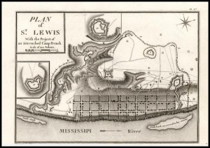 Collot's Map of Saint Louis with Collot's added fortifications.  Map dated 1796, courtesy Missouri History Museum, photo by David Mount