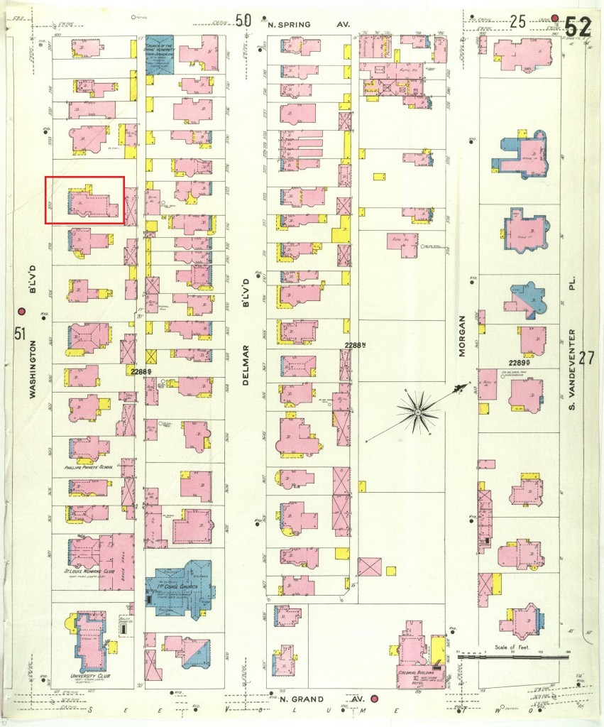 The 1909 Sanborn Fire Insurance Map shows the density of the block and the location of the James H. Green House at 3719 Washington Avenue. We could not find a historic photograph.