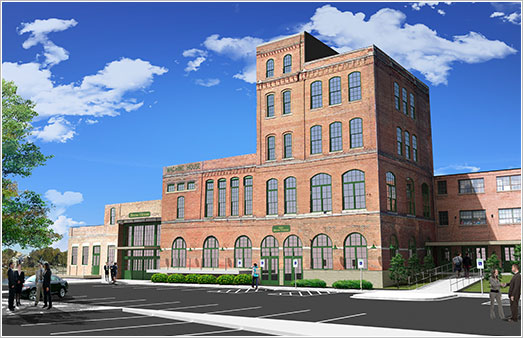 Rendering of the planned rehabilitation, Prairie (Peacock) Brewhouse, Rockford. Credit: Courtesy of Gary Anderson Architects