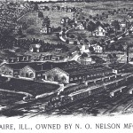 An 1893 rendering of the N.O. Nelson Manufacturing Company factory and Leclaire. (Source: N.O. Nelson Manufacturing Company Catalog, 1893).
