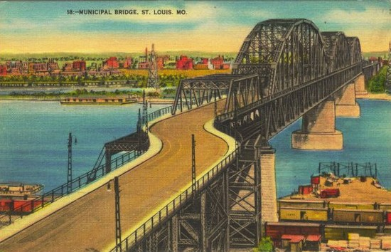 Postcard view of the MacArthur Bridge. Collection of the Preservation Research Office.