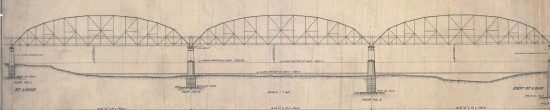 """Sectional drawing of the """"Muncipal Free Bridge"""" by Boller & Hodge, 19xx."""