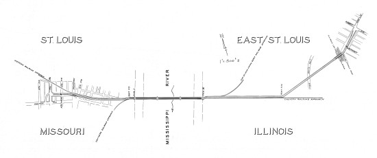 TRRA map of the MacArthur Bridge and its approaches, 1958.