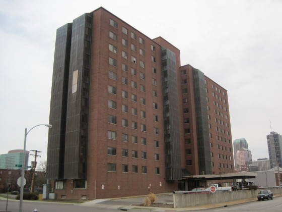 The last tower at Cochran Gardens ahead of demolition in 2012.