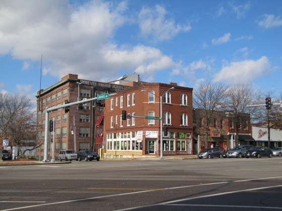 The commercial corner of the district, at the intersection of Jefferson, Gravois and Sidney. This is looking northwest in the intersection.
