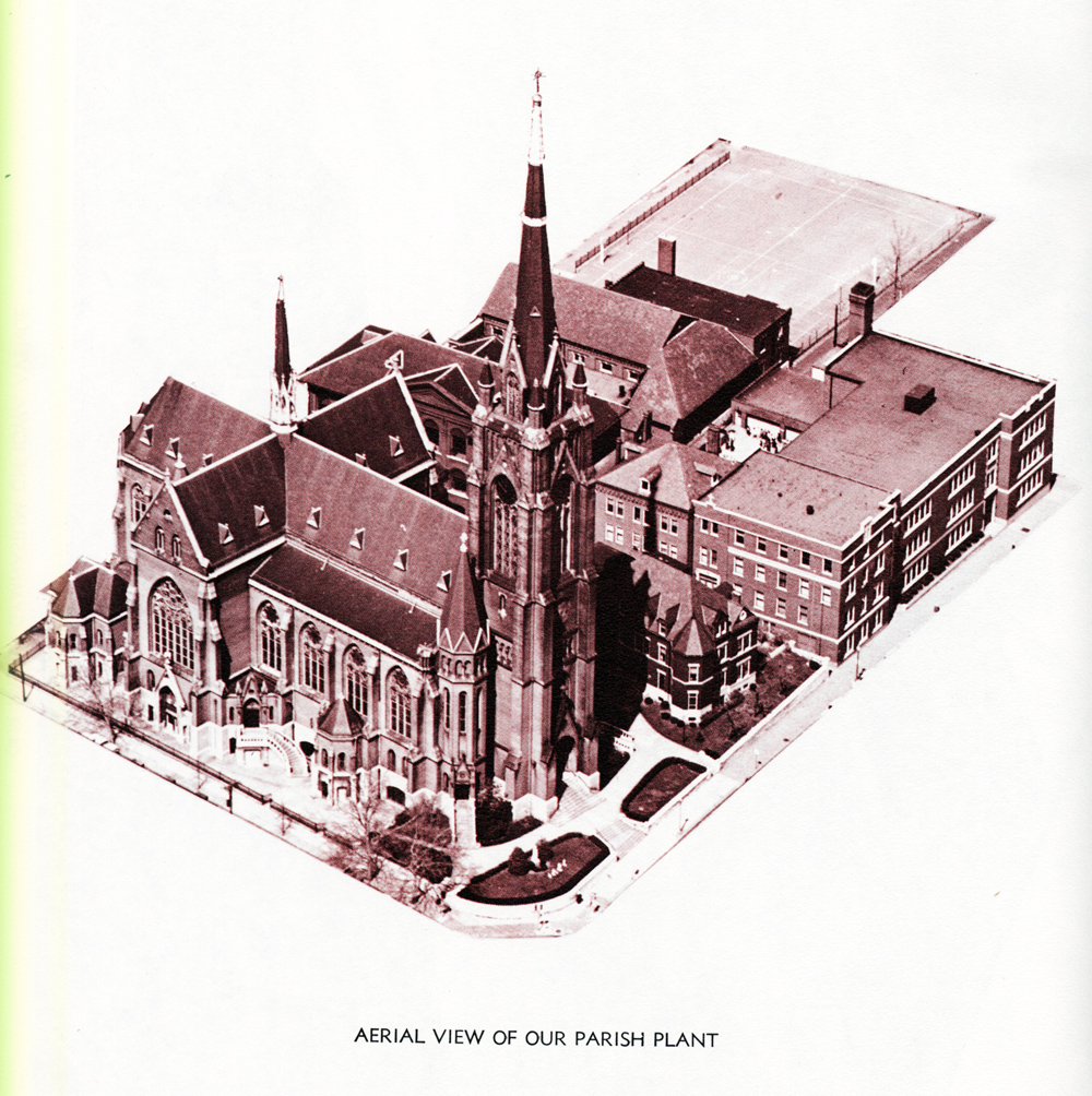 A 1939 aerial view of the St. Francis de Sales parish complex. Source: Diamond Jubilee, 1867-1942.