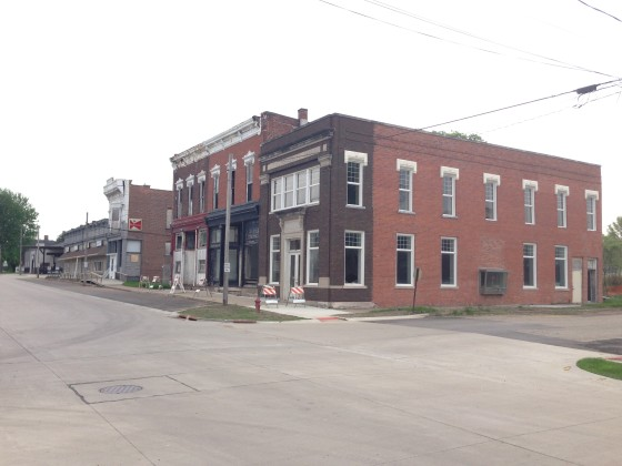View southwest on Main Street in Keithsburg, Illinois. May 2014.